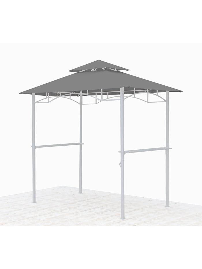 Grasekamp Ersatzdach für BBQ Grill Pavillon  1,5x2,4m Grau Unterstand Doppeldach  Gazebo, Grau