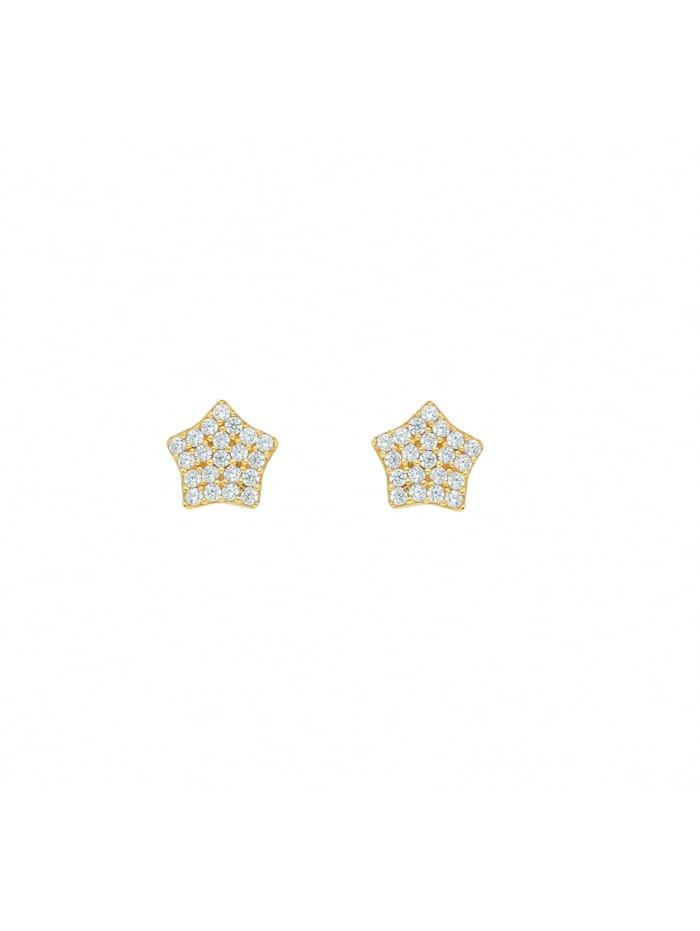 1001 Diamonds 1001 Diamonds Damen Goldschmuck 333 Gold Ohrringe / Ohrstecker Stern mit Zirkonia, gold