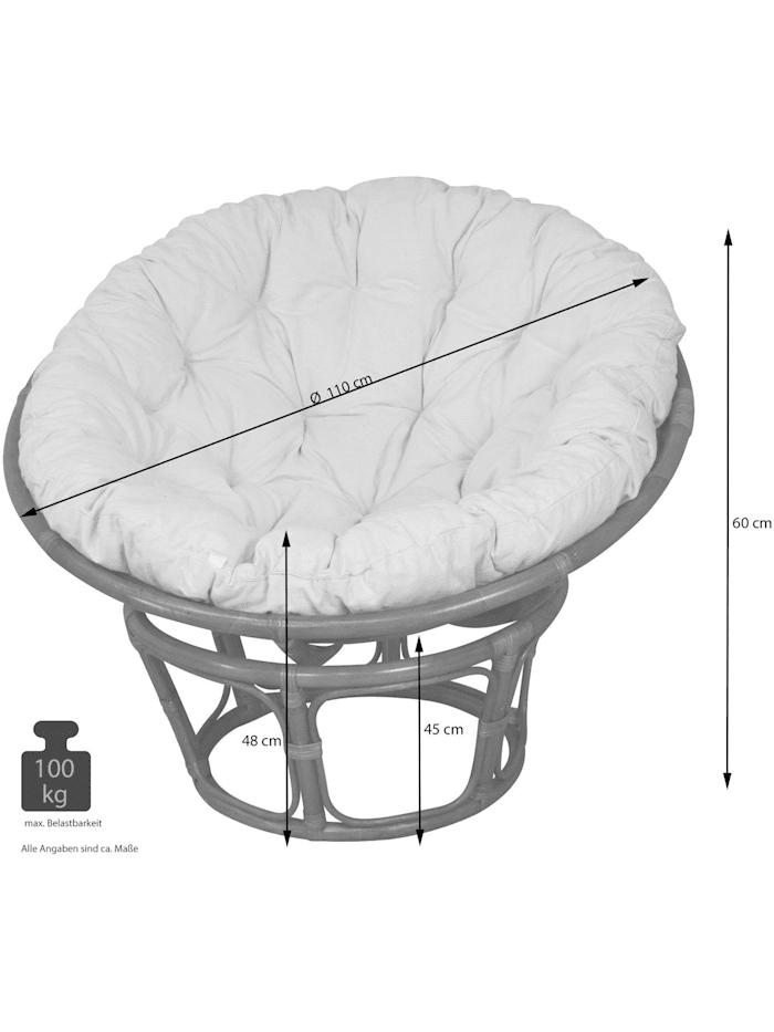 Möbel-Direkt-Online Papasansessel, Durchmesser 110 cm Sessel mit Kissen, weiß