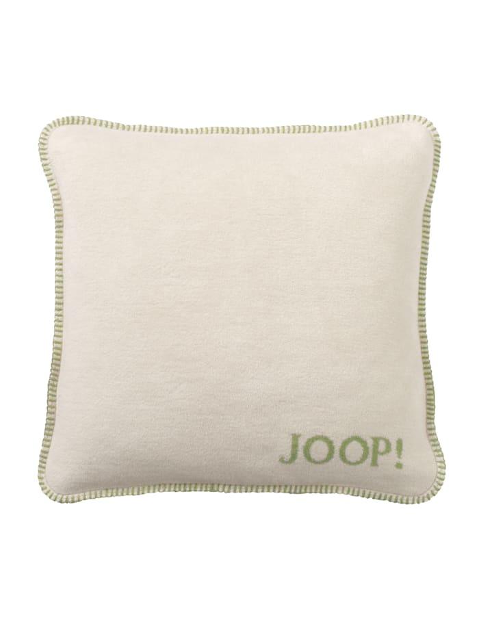 JOOP! Kissenhülle 'Uni Doubleface', Ecru/Salbeigrün