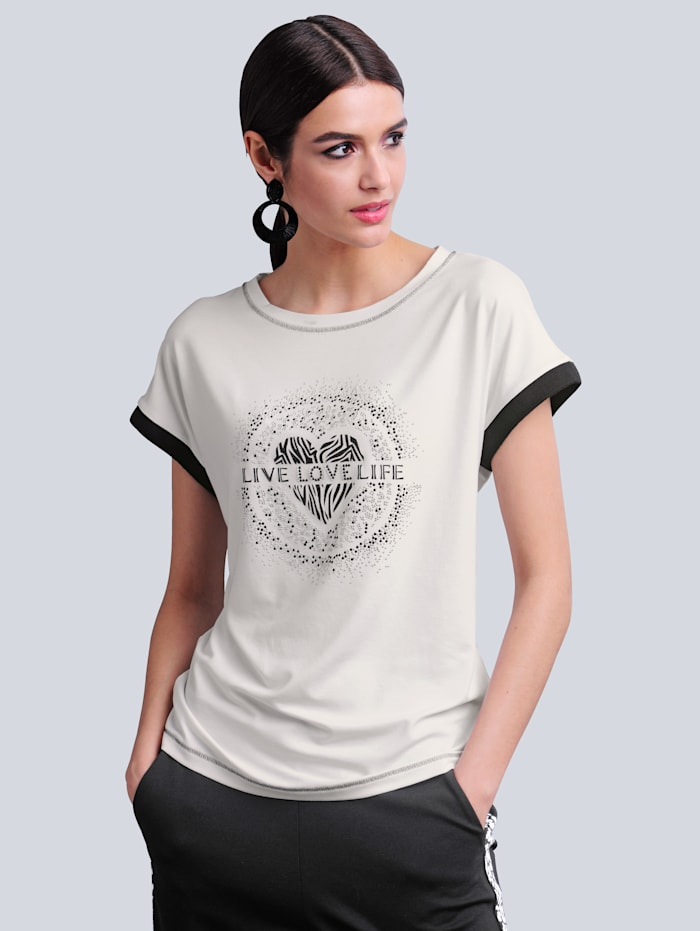 Alba Moda Shirt mit Druckmotiv im Vorderteil, Off-white/Schwarz