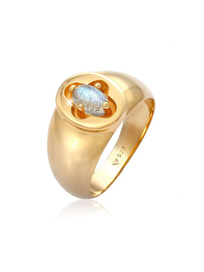 Elli Premium Ring Siegelring Labradorit Kreuz 925 Silber Vergoldet, Gold
