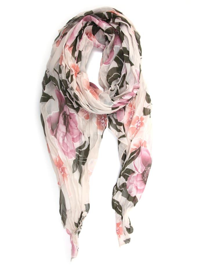 Collezione Alessandro Italienischer Schal Veerle mit floralem Muster, creme