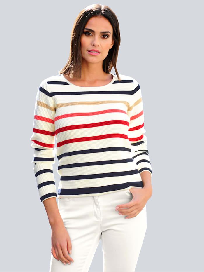 Alba Moda Pullover aus schöner Pima Baumwolle, Off-white/Marineblau/Rot/Camel