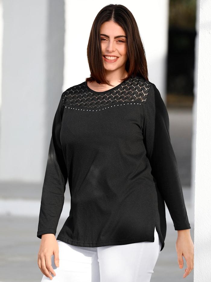m. collection Shirt mit Spitze, Schwarz