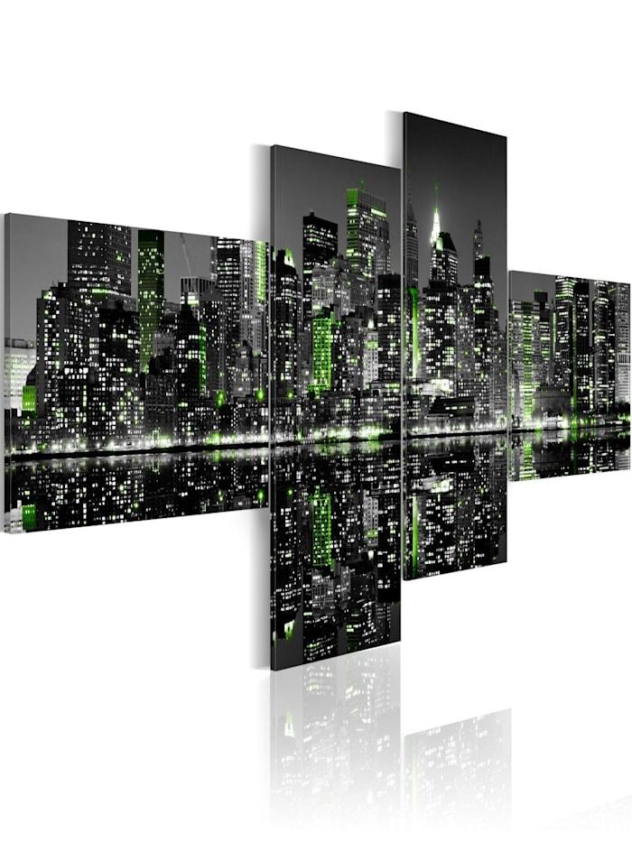 artgeist Wandbild New York - Nachtansicht, schwarz-weiß,Grün