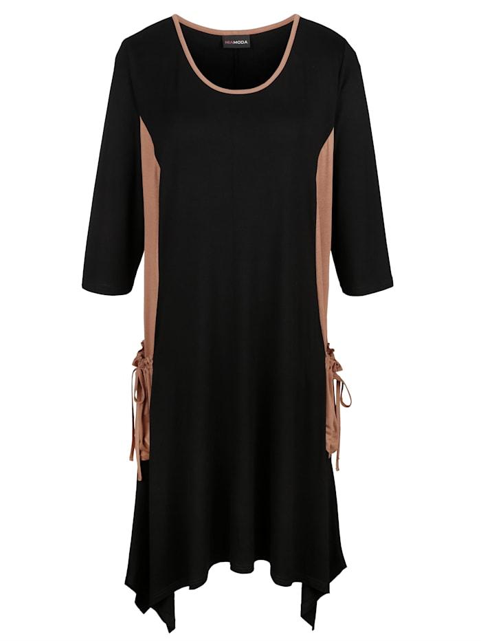 MIAMODA Šaty s kontrastními vsadkami na kapsách, Černá/Hnědá