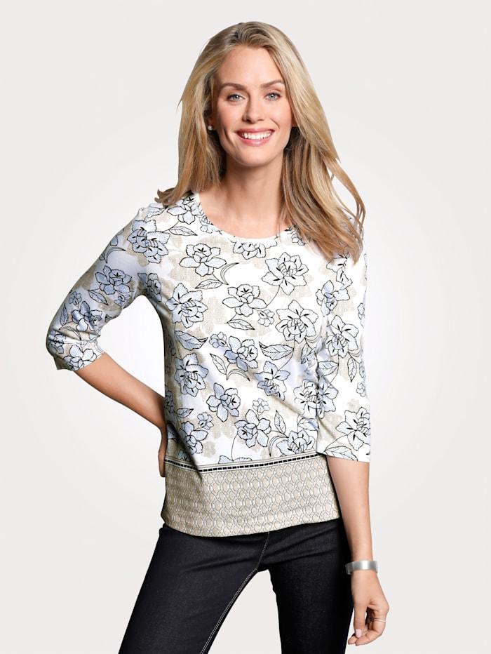 Olsen Shirt, Beige/Blau/Weiß