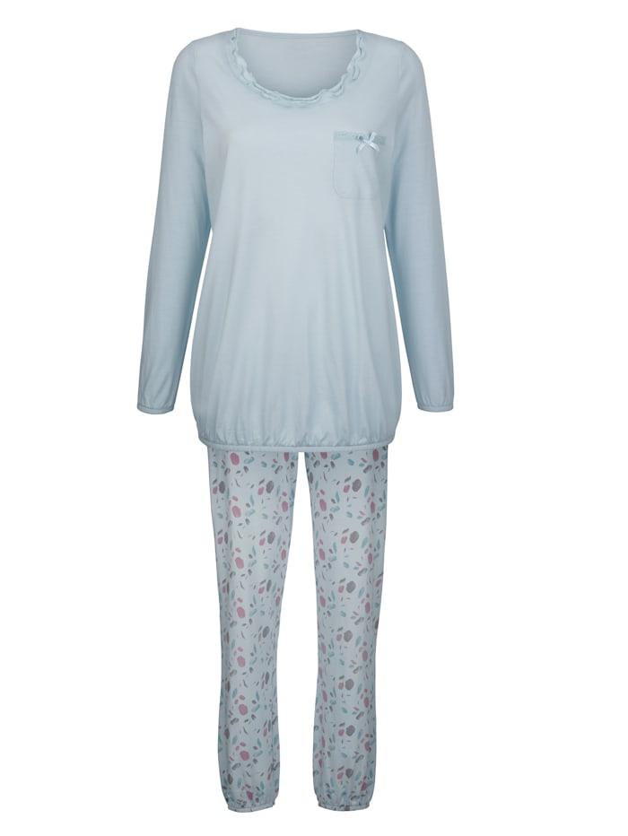 Simone Pyjama met schattig borstzakje, hemelsblauw/grijs/rozenhout
