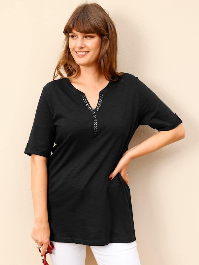 MIAMODA Shirt mit Dekosteinchen am Ausschnitt, Schwarz