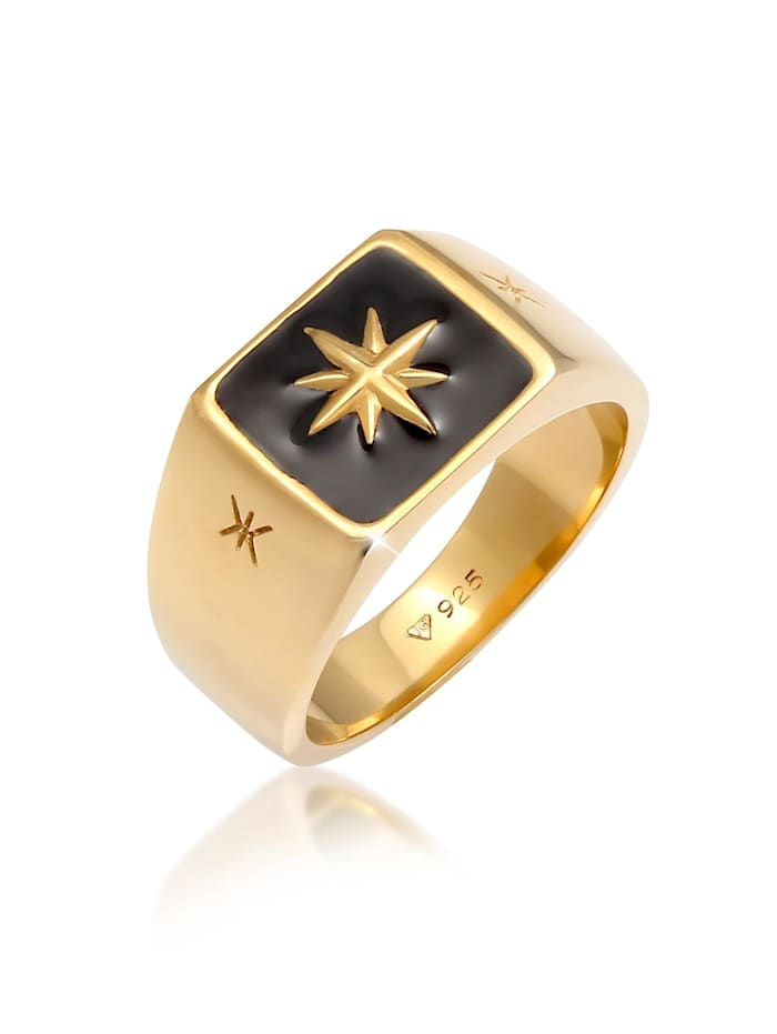 Kuzzoi Ring Herren Siegelring Emaille Stern Basic 925 Silber, Gold