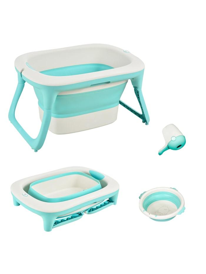 HOMCOM Faltbare Babywanne mit Waschbecken und Shampoobecher, grün