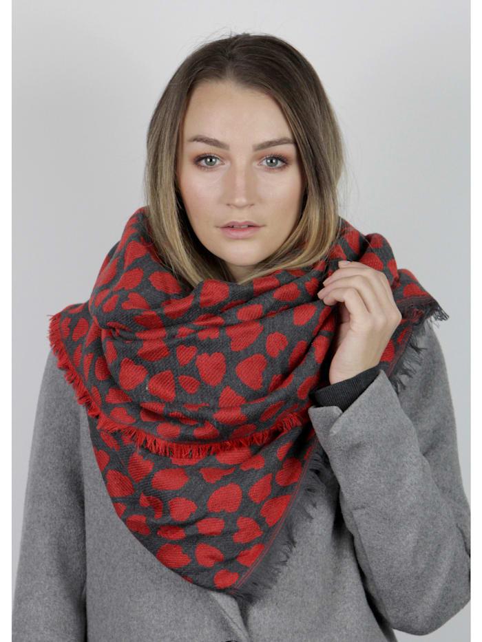 Oversized-Schal mit stilisiertem Herzchen-Print