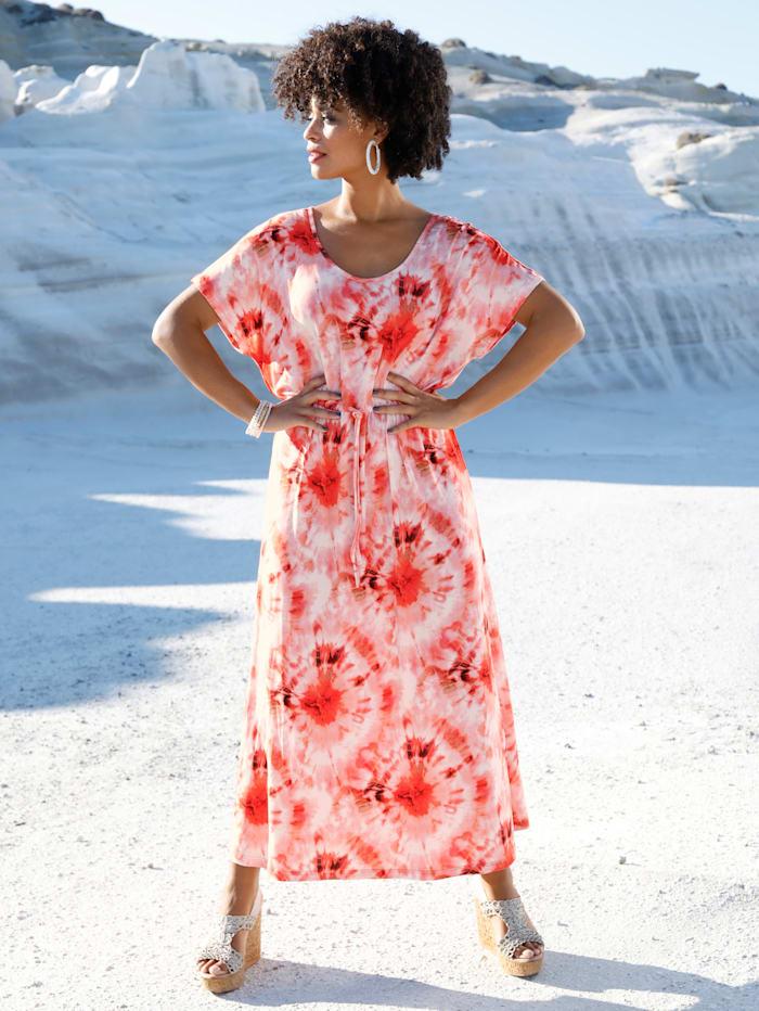 Angel of Style Robe longue en jersey, Rose vif/Vanille/Corail