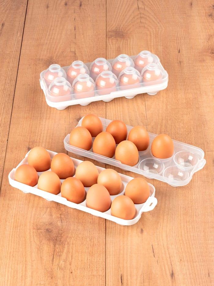 Maximex 4tlg. Eier-Safe, 2 Boxen mit Deckel, für je 10 Eier Gr. S - L, stapelbar, Weiß/Transparent