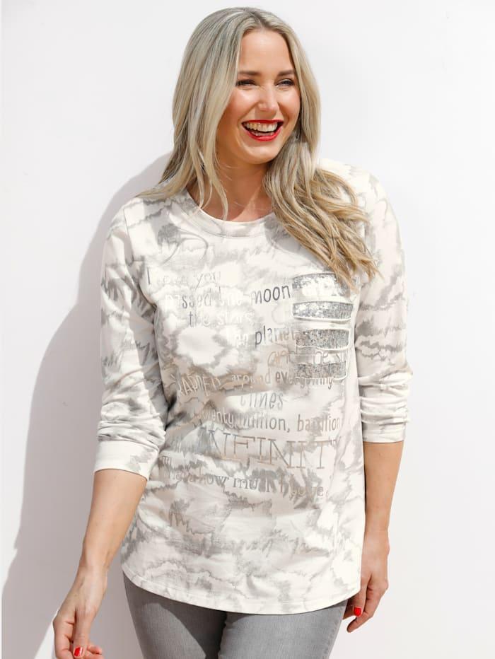 MIAMODA Sweatshirt mit Dekosteinen, Weiß