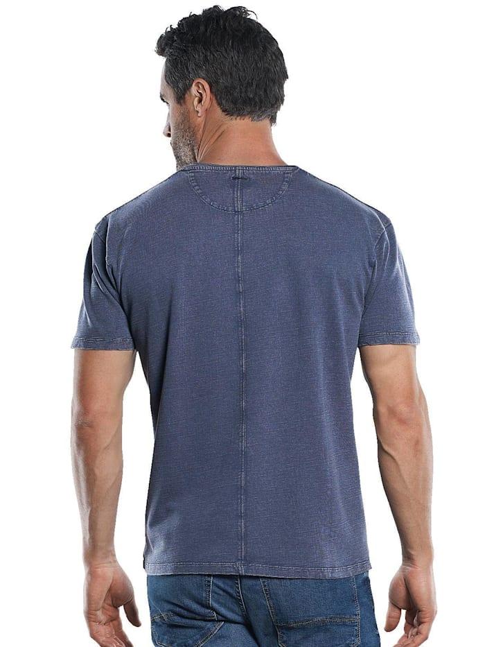 Strukturiertes T-Shirt mit Rollkante am Kragen