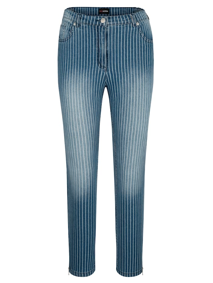 MIAMODA Jeans med ränder, Blå/Vit