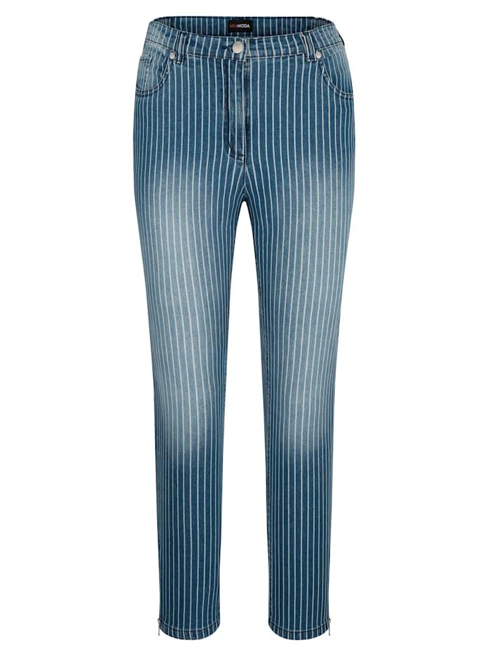 MIAMODA Jeans mit tollem Streifendruck, Blau/Weiß