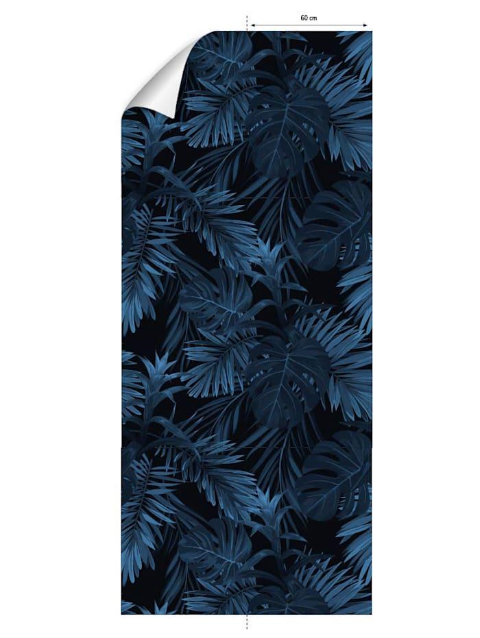 mySPOTTI Tapete, Blätter, blau/schwarz