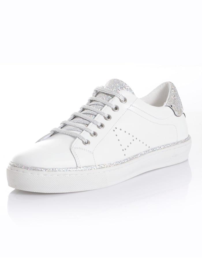 Alba Moda Sneaker mit Glitzereinsätzen, Weiß