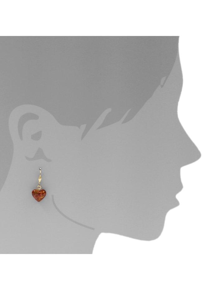 Ohrhänger - Herz 11 mm - Gold 333/000 - Bernstein