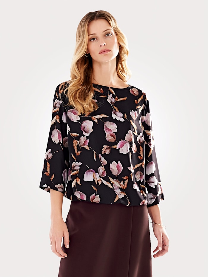 Pull-on blouse with watercolour tulip print