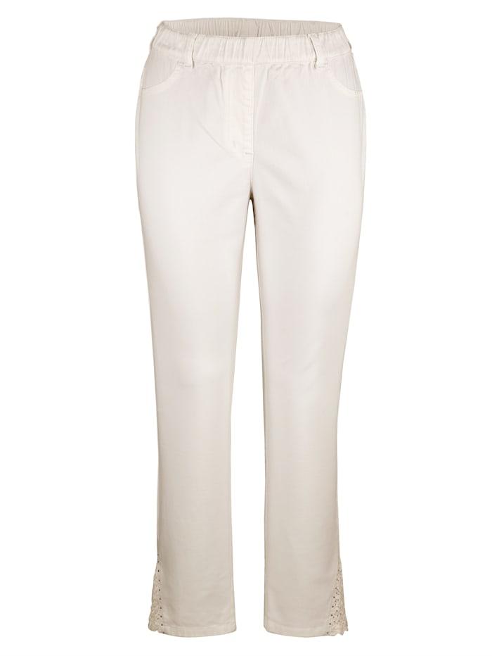 MIAMODA Bukse med blonder på benkanten, Hvit