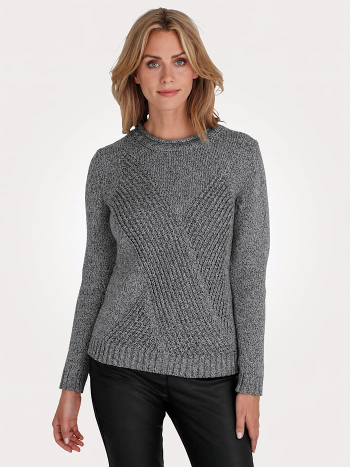 MONA Pull-over en maille structurée, Anthracite/Gris