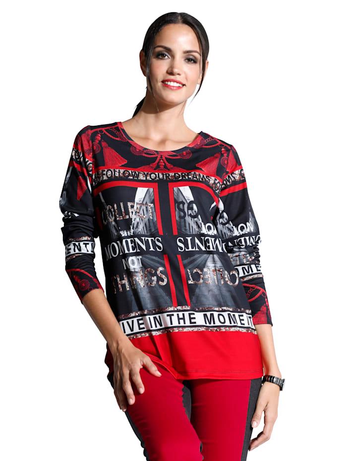 AMY VERMONT Shirt im allover Druck, Schwarz/Weiß/Rot