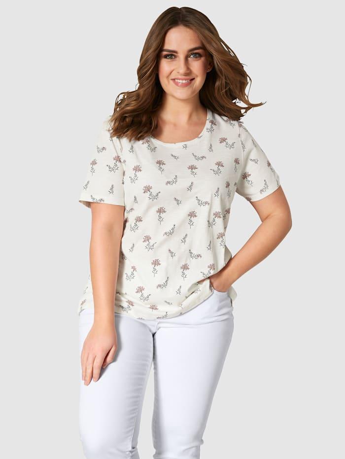 Janet & Joyce Shirt aus reiner Baumwolle, ecru-grün-rosé
