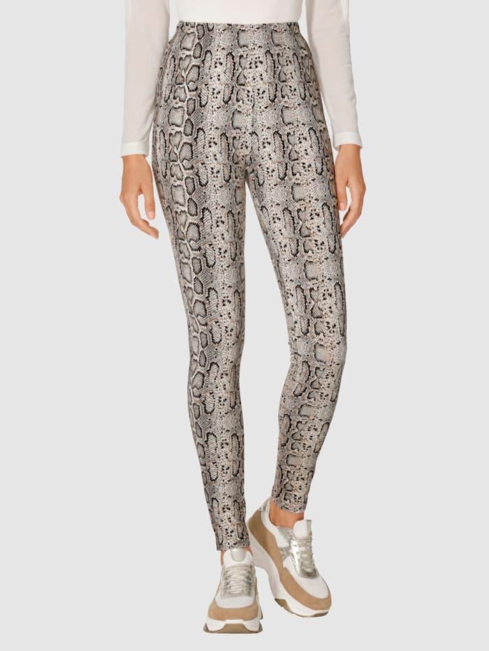 AMY VERMONT Käärmekuvioidut leggingsit, Beige/Ruskea