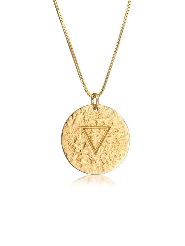 Elli Halskette Wasser Element Symbol Coin Vintage Look 925 Silber, Gold