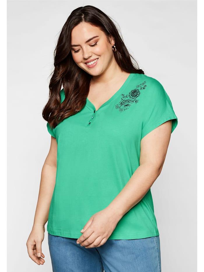 Sheego T-Shirt mit aufwendiger Stickerei, mint