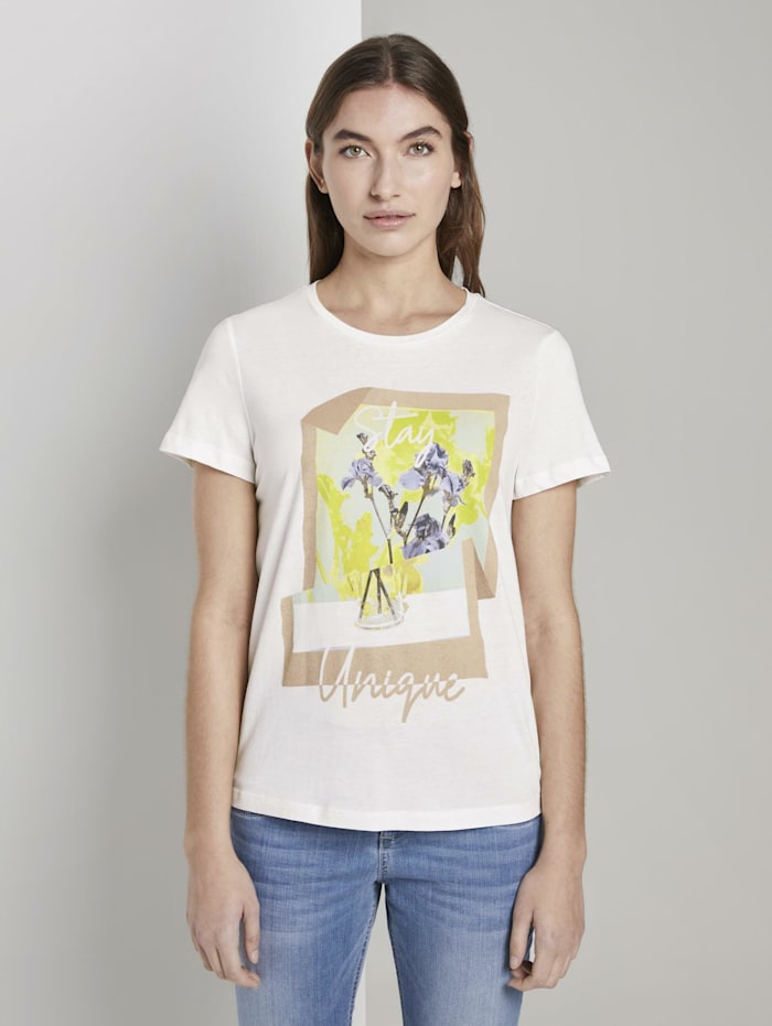 Tom Tailor T-Shirt mit floralem Print, Whisper White