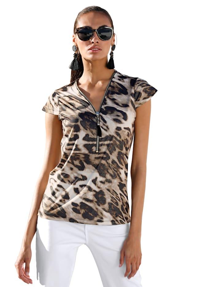 AMY VERMONT Shirt mit Reißverschluss und Quaste am Ausschnitt, Braun/Schwarz