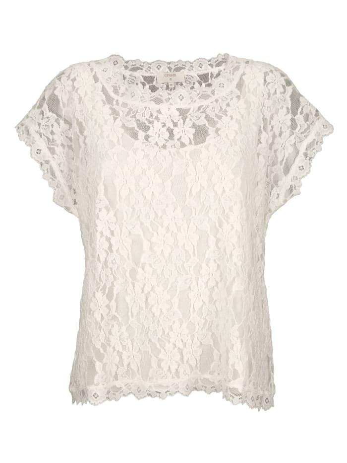 Cream Bluse aus Spitze mit angenähtem Top, Off-white