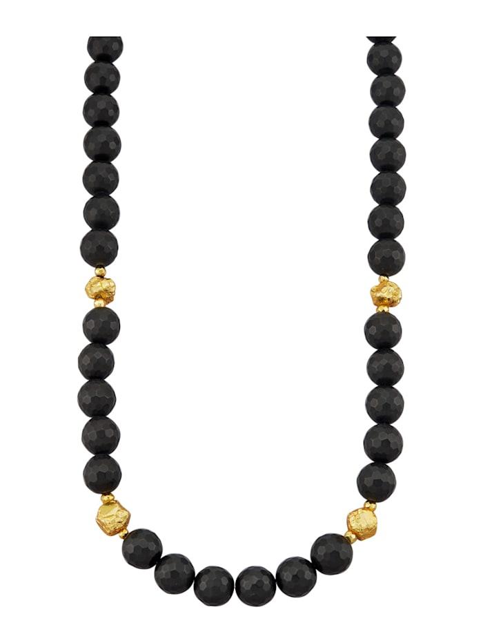Amara Pierres colorées Chaîne en agate avec pépites de pyrite, Noir