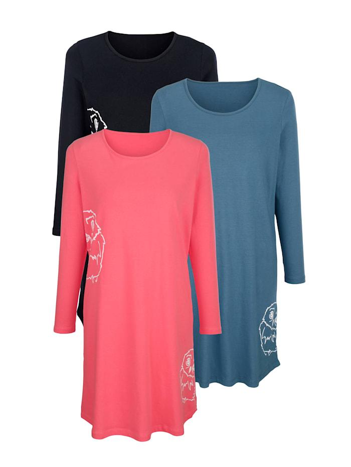 Nachthemden mit tierischem Druckmotiv 3er Pack