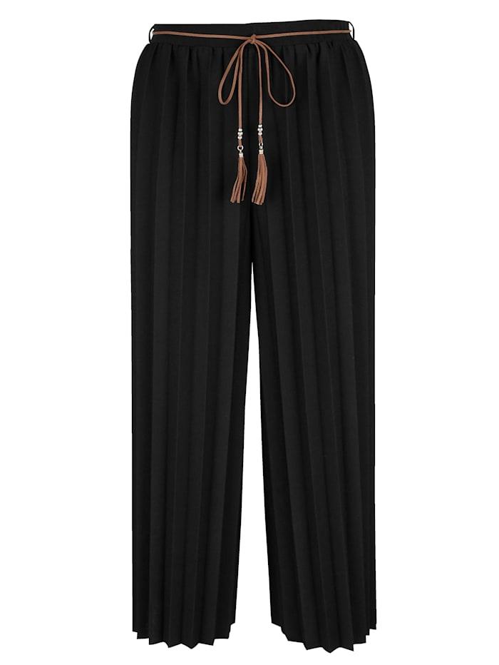 MIAMODA Plisé kalhoty ve vzhledu sukně, Černá