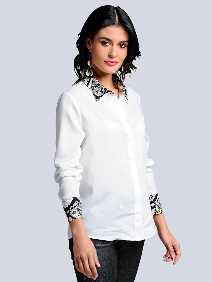 Alba Moda Bluse mit effektvollen Details, Off-white