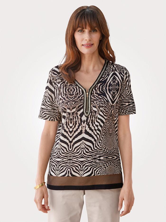 MONA T-shirt avec bordure fantaisie, Noir/Beige/Marron