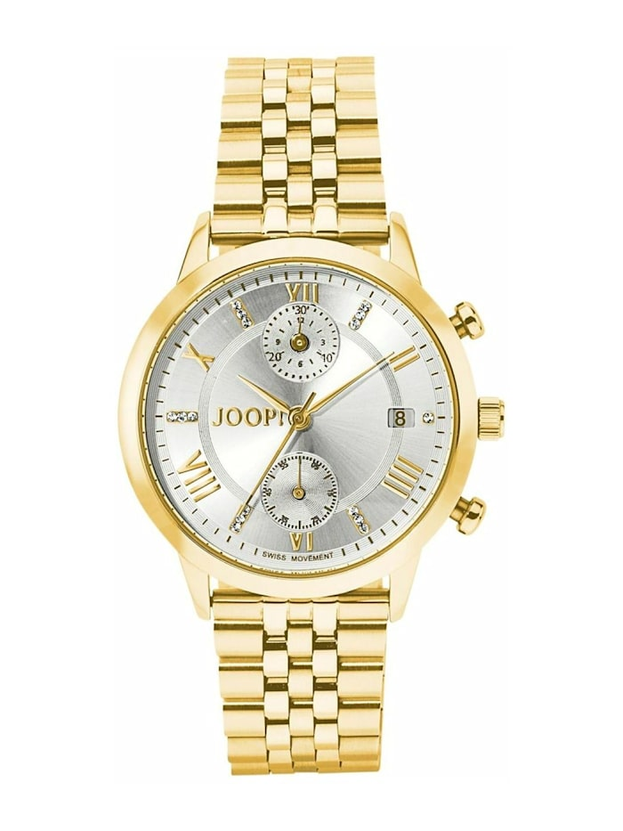 JOOP! Chronograph für Damen, Edelstahl, Zirkonia, Gold