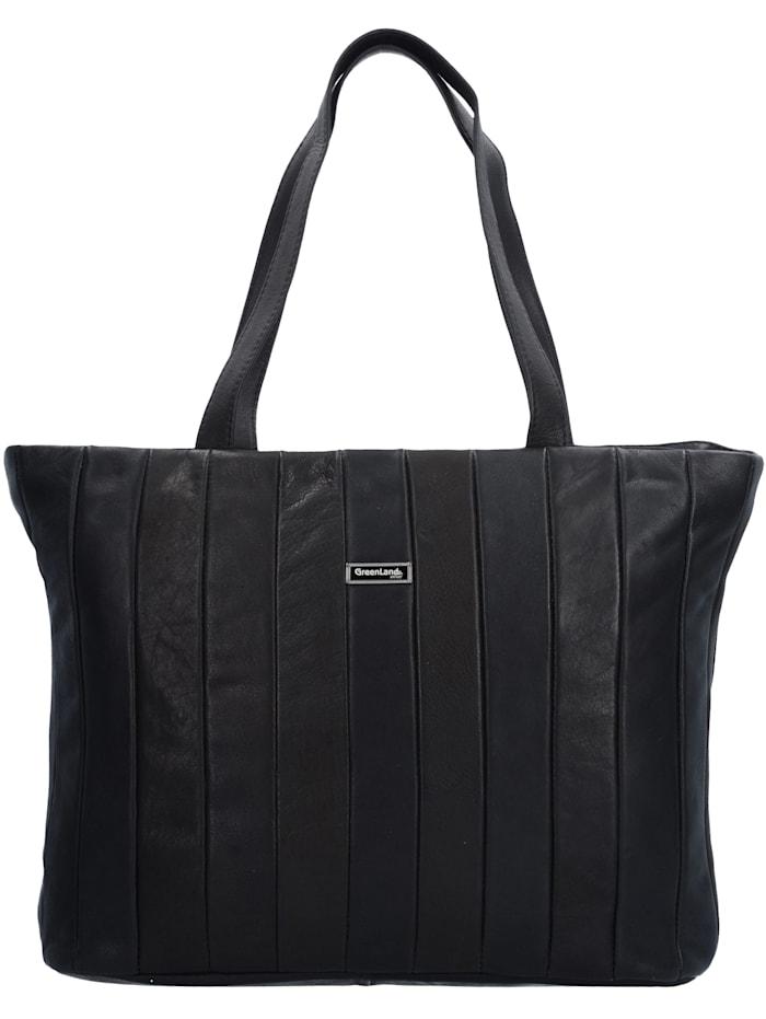 Greenland Black Nappa Shopper Tasche Leder 37 cm, black