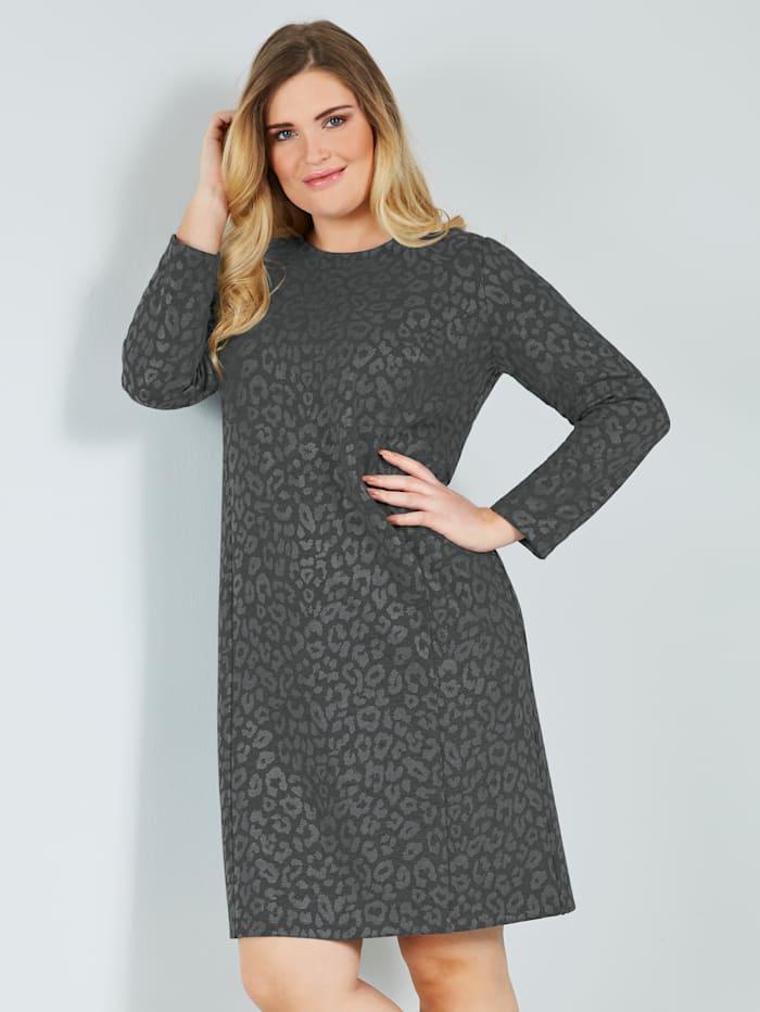 Sara Lindholm Jerseykleid aus Jerseyjacquard, Dunkelgrau/Grau