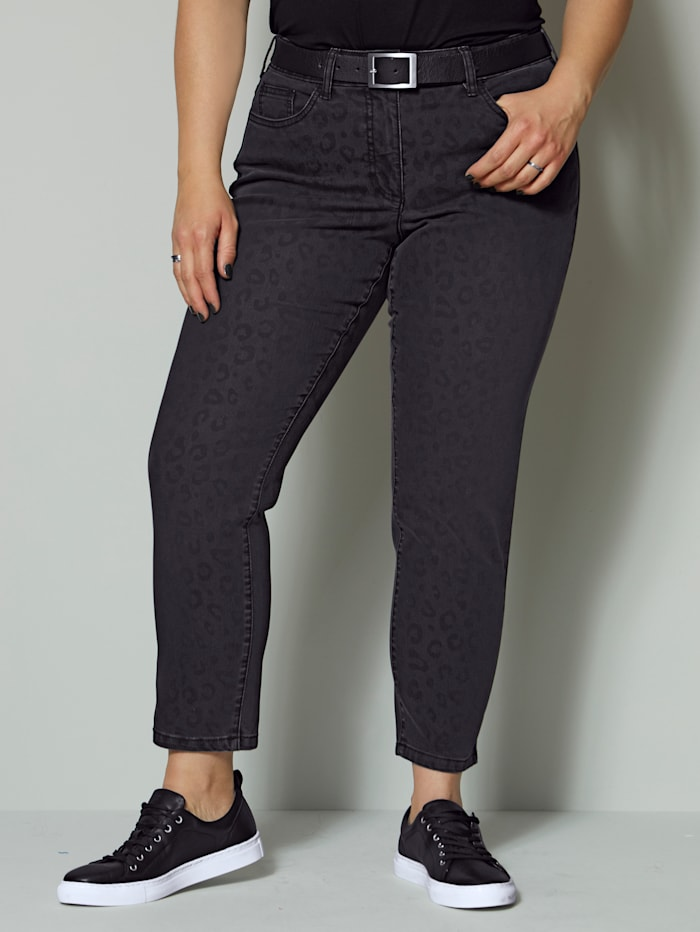 Angel of Style Jeans mit Animaldruck, Anthrazit
