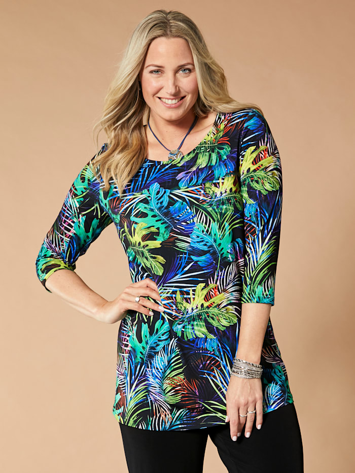 MIAMODA Slinkyshirt allover mit Grafik- und Blätterdruck, Multicolor