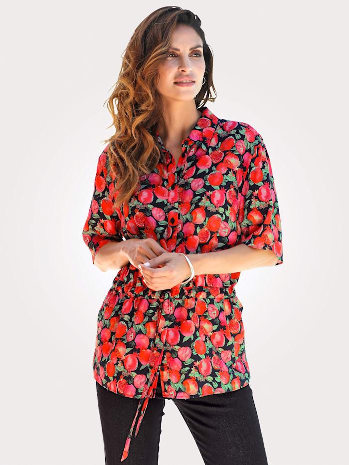 MONA Blouse in trendy model, Zwart/Lichtrood