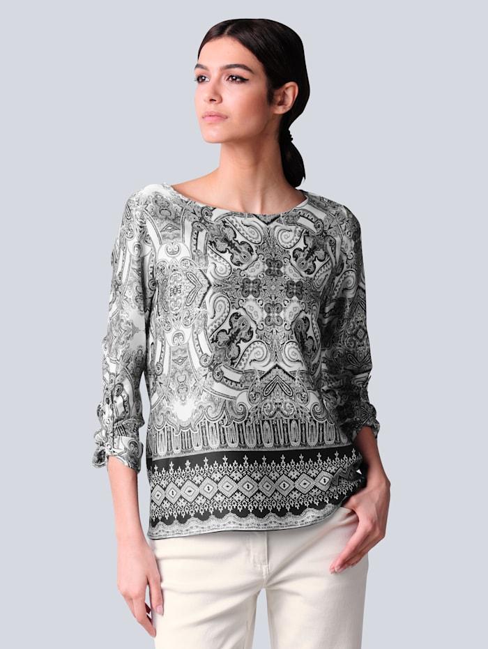 Alba Moda Blúzka s paisley vzorom, Čierna/Prírodná biela