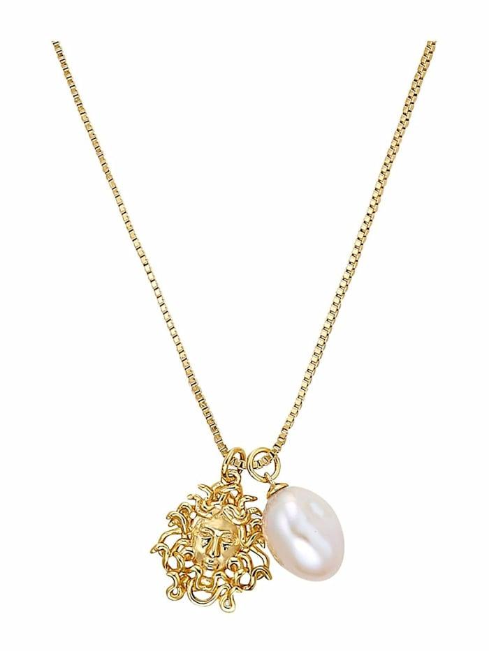 Kette mit Anhänger für Damen, Sterling Silber 925 vergoldet, Medusa